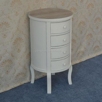 Modern Wood Living Room Cabinet Furniture Round Cream ...