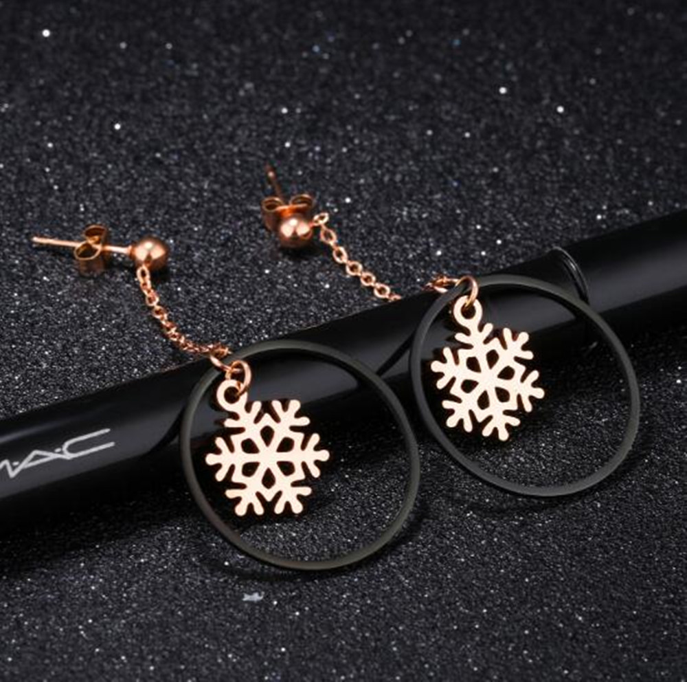 Unique Design DIY Gold Snowflake Charm Pendant Circle Stud Earring Stainless Steel Girls UK Earring China Suppliers