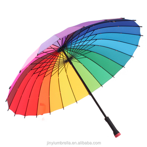 Hot sale large size 24k long handle rainbow promotional straight golf umbrella
