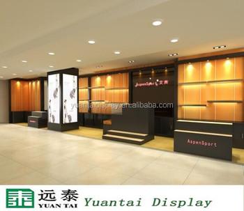 wood display cabinet with led lights for bag shop furniture design