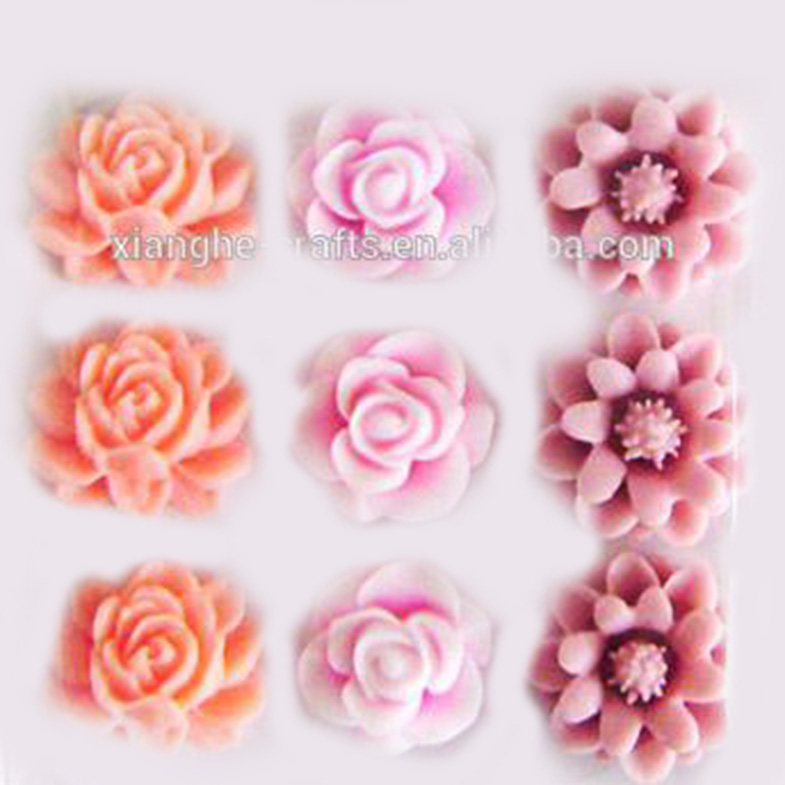 2014 hot sale colorful cabochons beautiful wholesale resin flowers