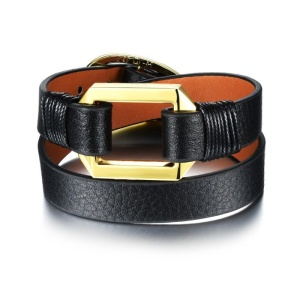 SJ Costume Accessory for Men SJPH1067 Environmental Leather Two Strand Alloy Buckle Adjustable Wristband Cuff Bracelet as Gift