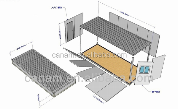 CANAM-flat roof prefab house, modular building, mobile house for sale