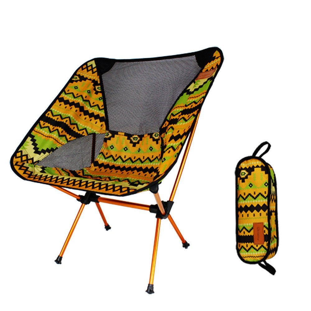 Folding Chair Set-2018Portable Backrest Reinforced Lightweight Waterproof Outdoor Camping Set (One Size, Yellow)