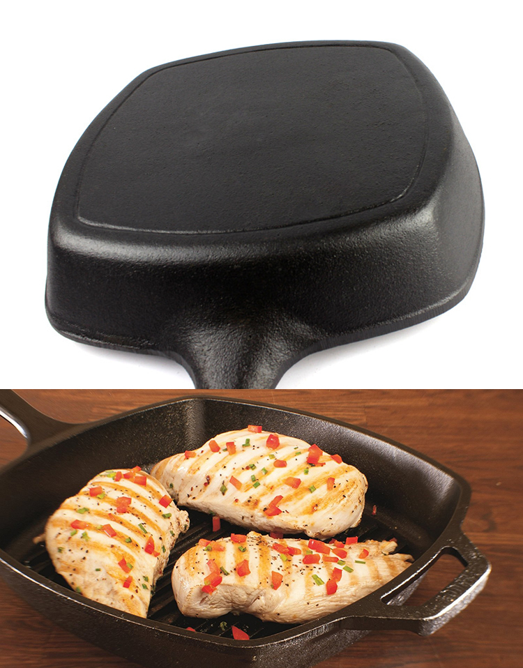 Cast Iron Square Grill Pan With Removable Handle