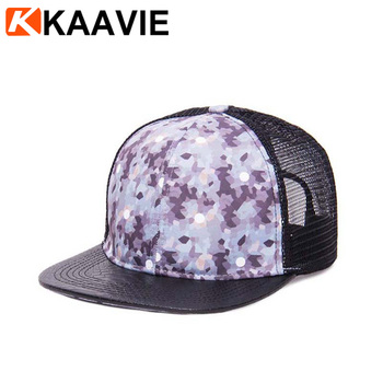 41854b1a4eab1 Custom 6 Panel Foam Flat Leather Bill Camo Snap Back Mesh Trucker ...