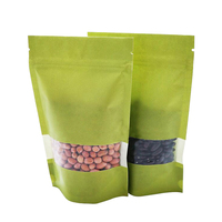 Doypack Resealable Ziplock Green Kraft Paper Standing Up Pouches Packaging Zipper Bag With Window