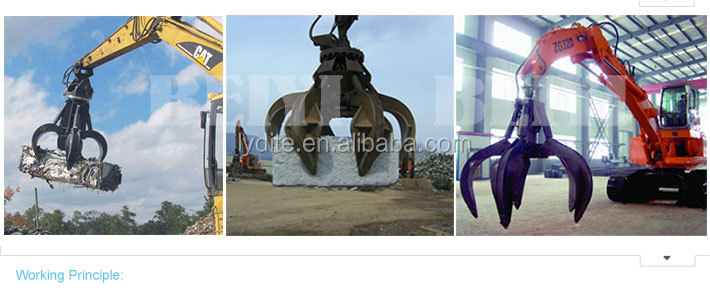 LYD 3000H high quality scrap grapple 4 teeth hydraulic grapple metal and grab bucket for excavator on sale
