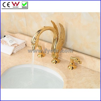 Fyeer Newest Gold Plated Dual Handle Swan Bath Faucet Bathroom Brass ...