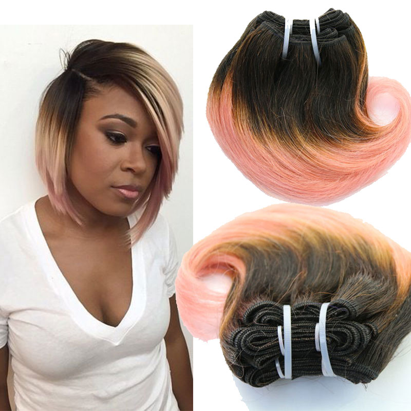 Ombre Grey Blonde Brazilian Body Wave Short Weave 8inch Human Hair Weft 4pc Pack Sew In Accessories Women Unprocessed