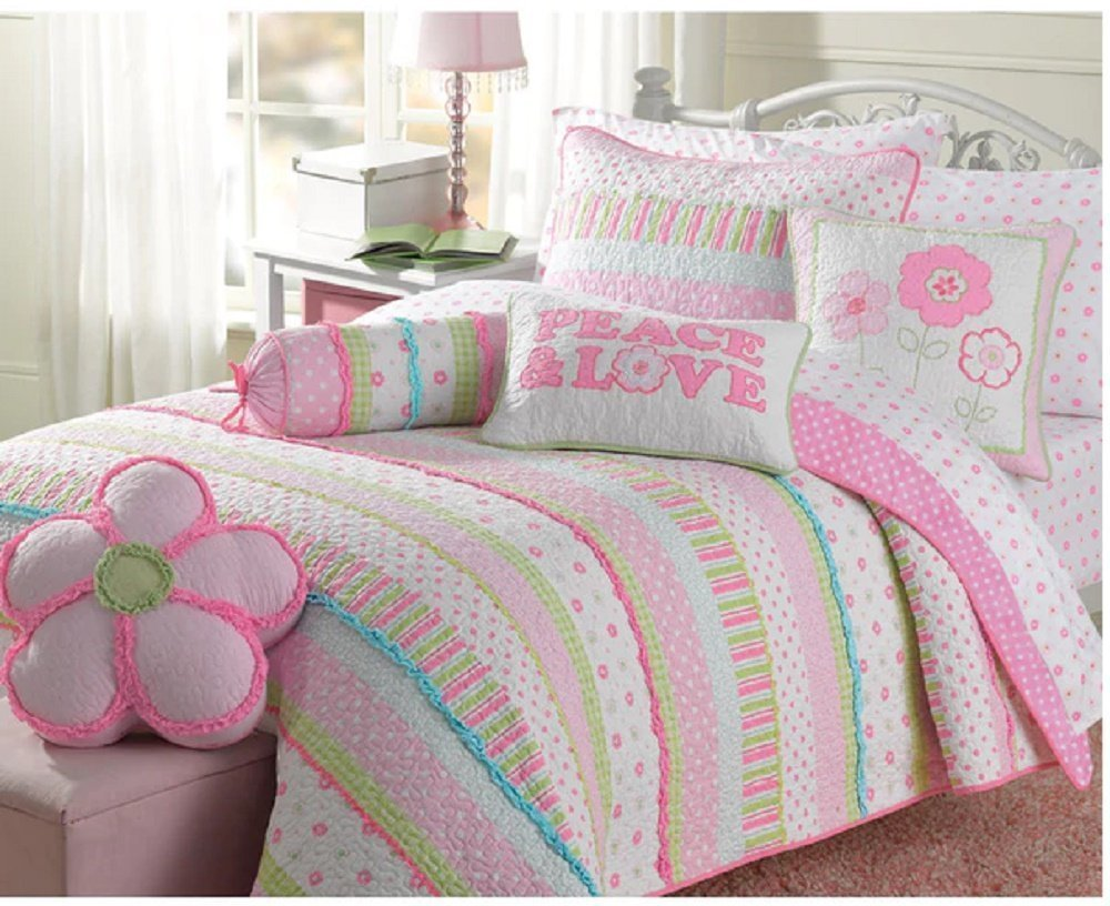 3pc Girls Pink Floral Stripe Quilt Queen Set, Gorgeous Bohemian Bedding, Horizontal Polka Dots Striped Pattern, Pin Tuck Design, Pretty Flowers Themed, Bright Color