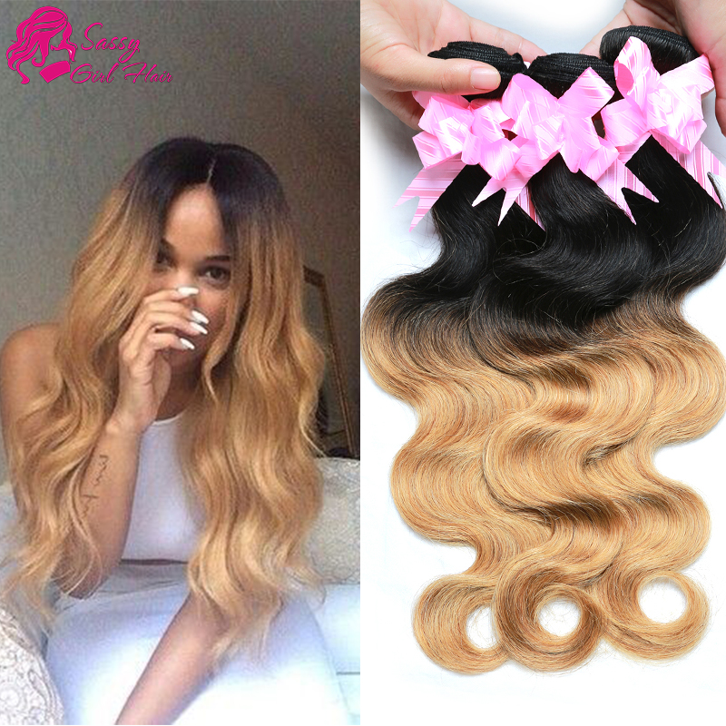 Hj Weave Beauty Brazilian Body Wave Human Hair Weave Blonde Bundles Ombre 1b 27 Cheap 4pcs
