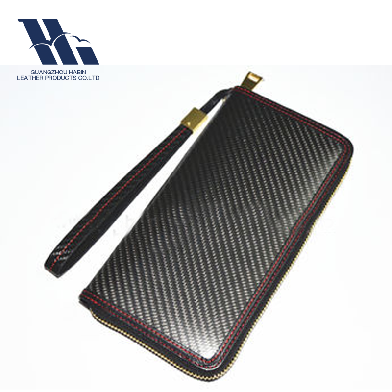 Hot sale Slim Carbon fiber & genuine leather Women Clutch Wallet