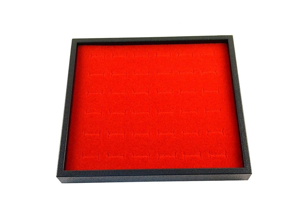 """Regal Pak ® Black Half Size 1""""H Stackable Plastic Tray With Red Ring Foam (36 Rings) 7-3/4"""" X 6-3/4"""" X 3/4""""H (Jewelry Not Included)"""
