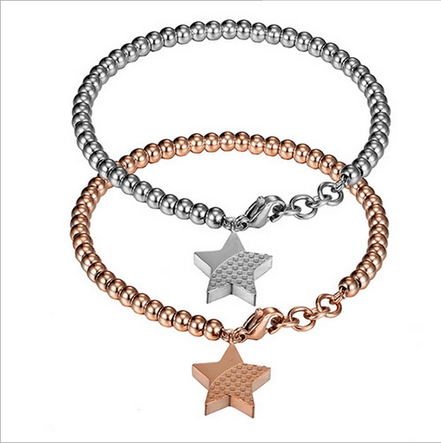 High quality astness 316 stainless steel round beads bracelet with start pandent bracelet for girls