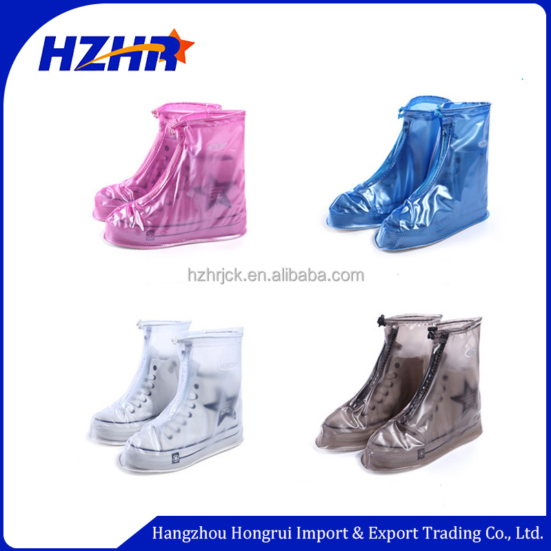 Rainy day walking Biking Shoe Covers Reusable Waterproof Rain Snow Boots Slip-resistant Zippered PVC Thicken Sole Shoes Cover