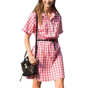 Turn-down Collar Short Sleeve Dress Casual Office Shirts Dress Women Vintage Red Plaid Dresses 2018 Summer Sexy with Belt K001