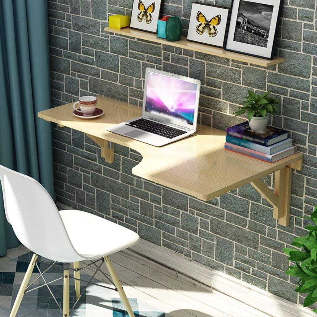 Mmdp Solid Wood Creative Corner Learning Table Foldable Office Table L-type Desk Wall-mounted Table Computer Desk Size Optional (Color : Wood, Size : 8060cm)