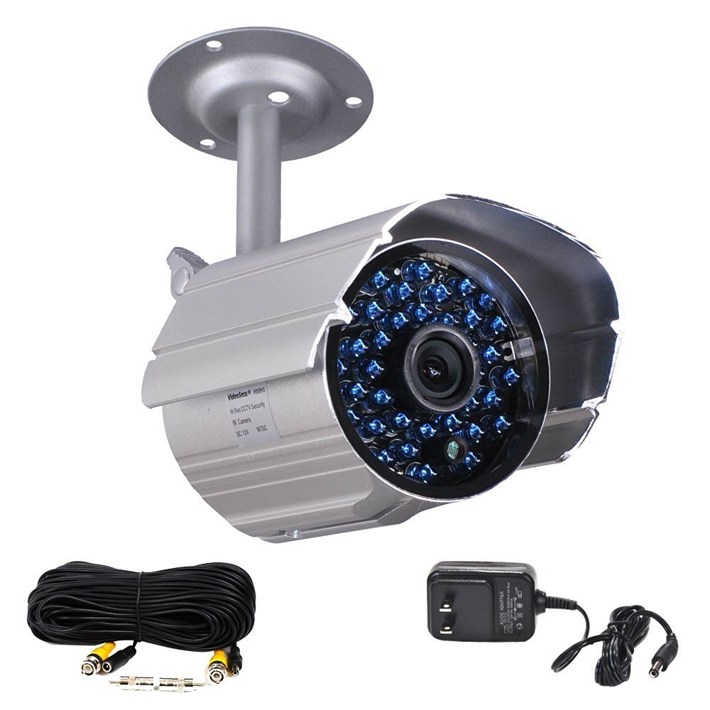 VideoSecu Infrared Day Night Vision Outdoor Bullet Security Camera 520 TVL 36 IR LEDs Built-in IR-Cut filter switch with Free Power Supply and Extension Cable WK5