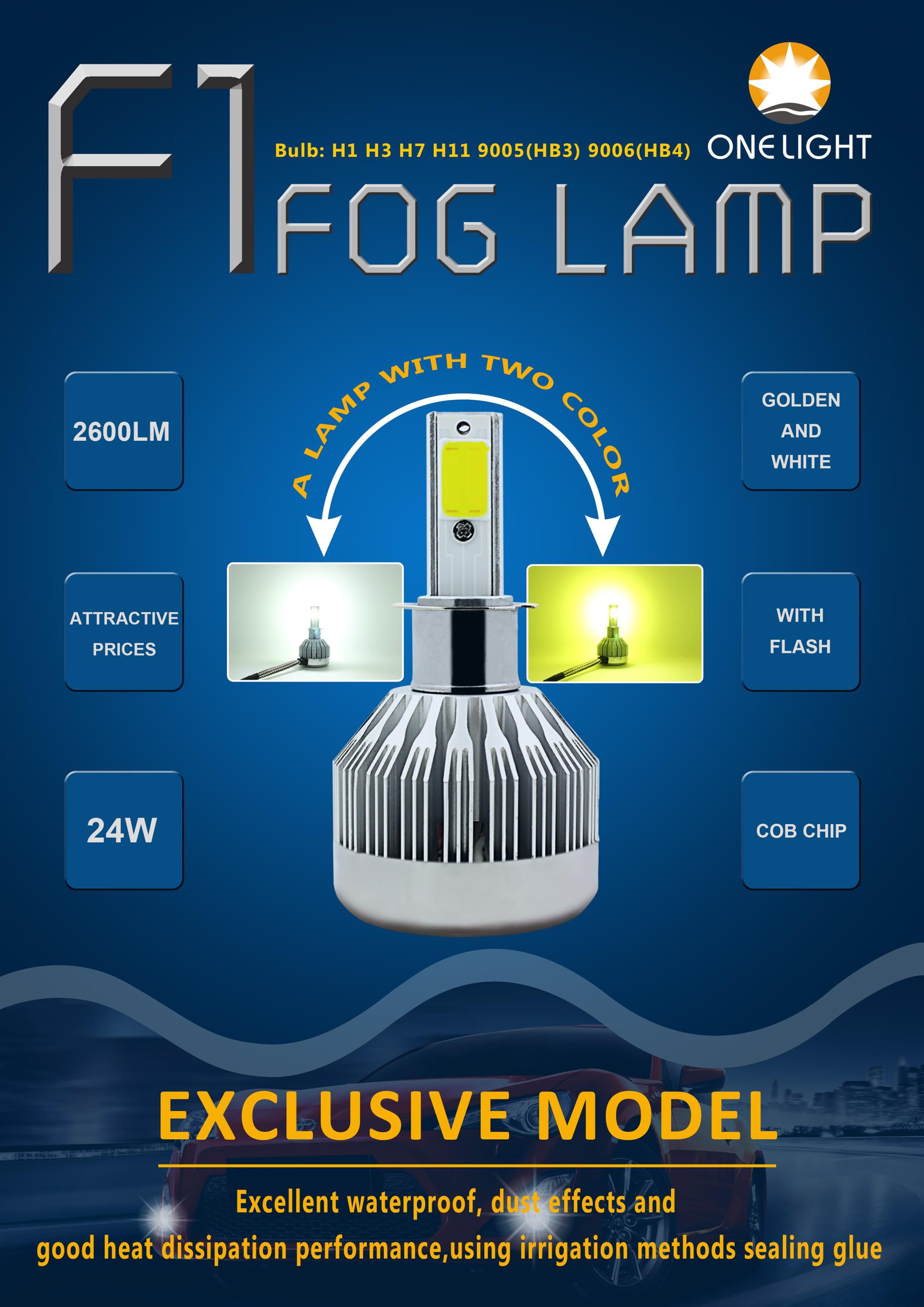 Dual color motorcycle led fog lamp auto led strobe light white ice blue yellow led auto light h1 h7
