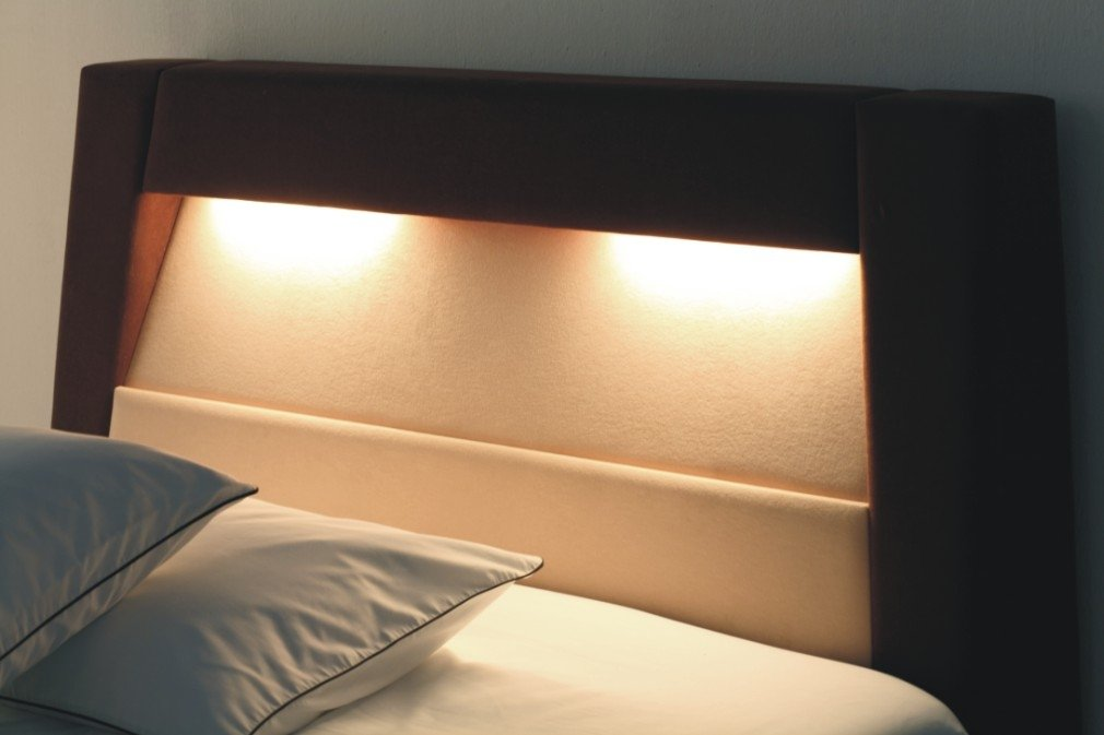 Headboard With Reading Lamp And Safe