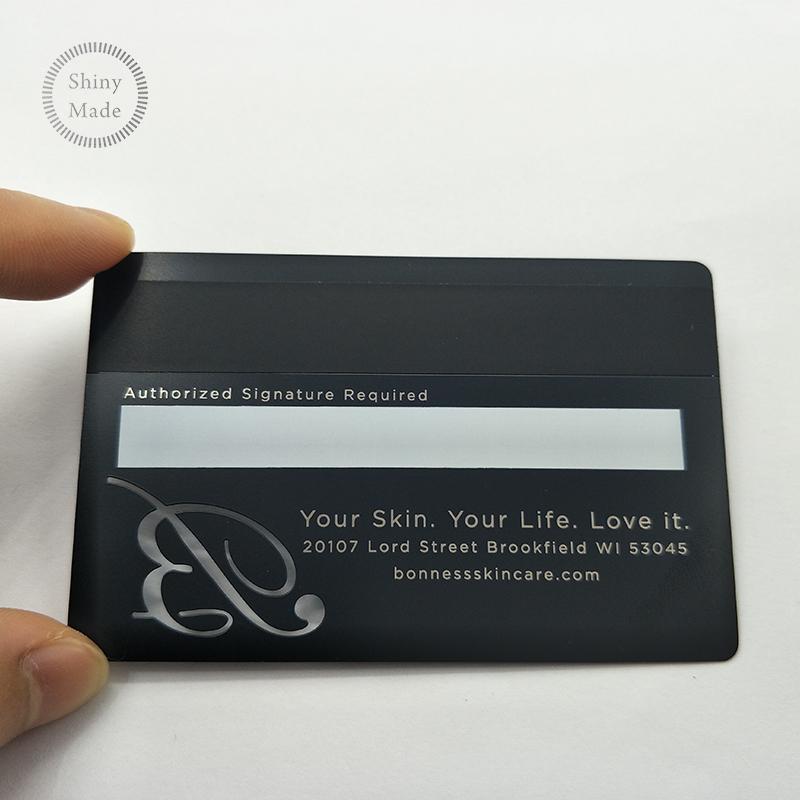 Personnalise Carte De Credit Taille Visite En Metal Noir Avec QR Code Laser Coupe