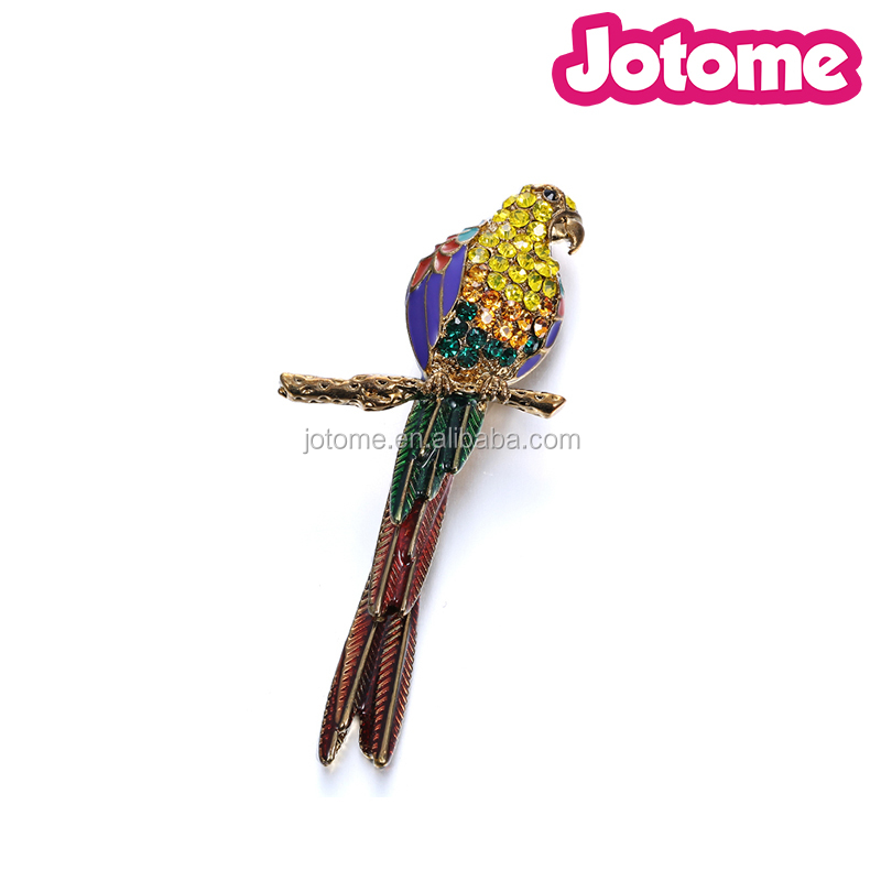 high quality multi color gold plated animal rhinestone brooch, parrot enamel brooches pins jewelry decoration
