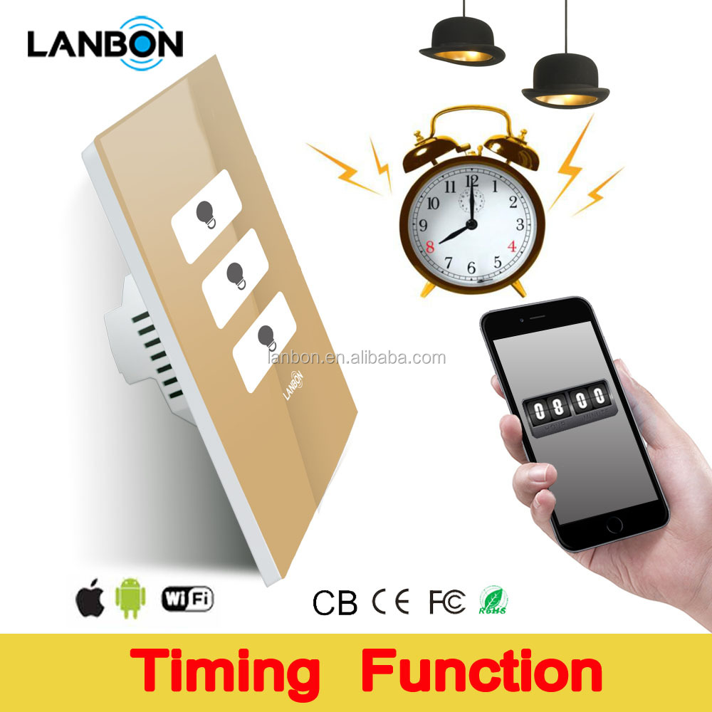 Lanbon smart home timing function wifi smart touch light switch 2 years warranty