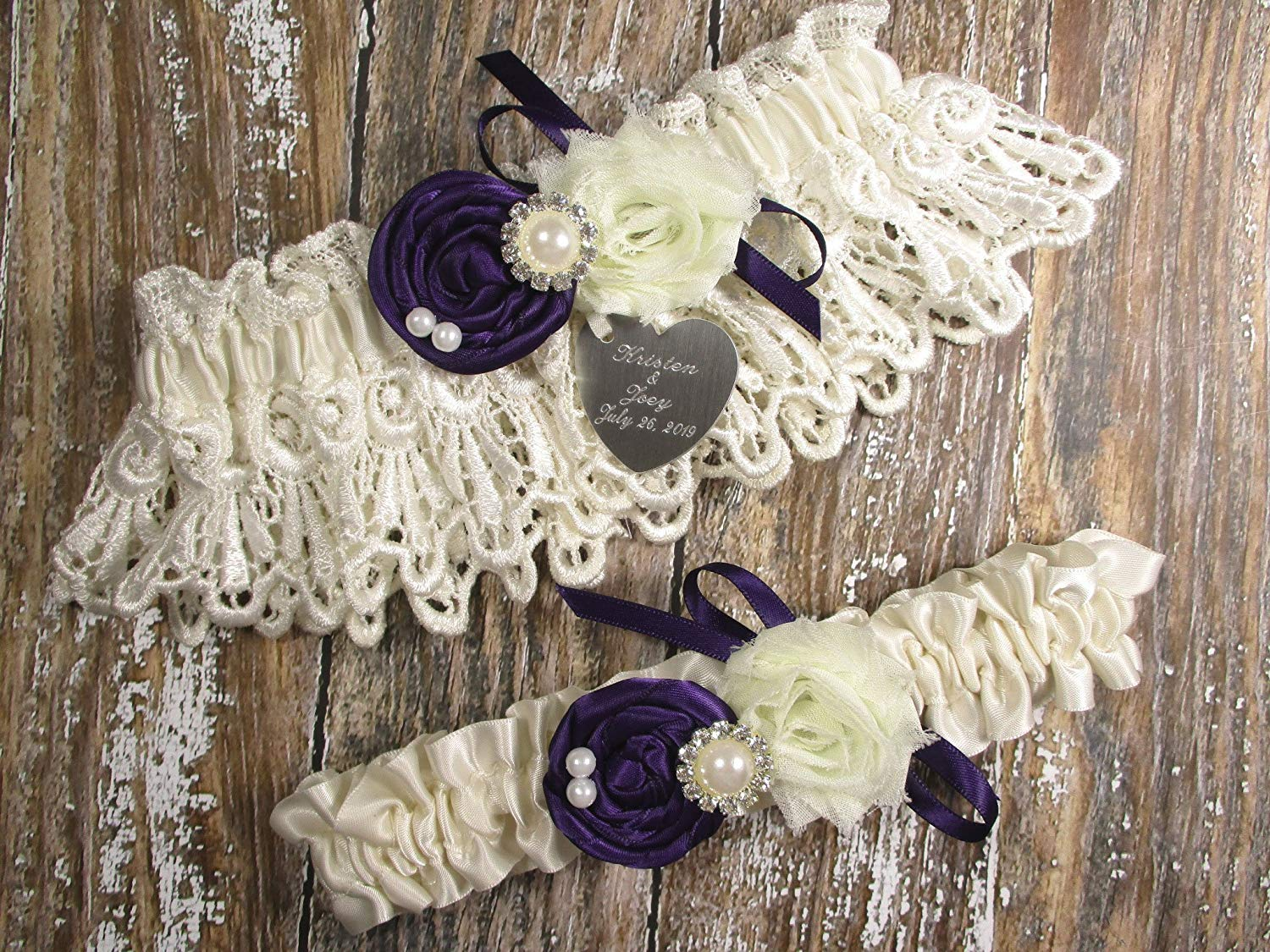 14bb3fefbd2 Get Quotations · Ivory Lace Wedding Garter Set with Purple Handmade Roses