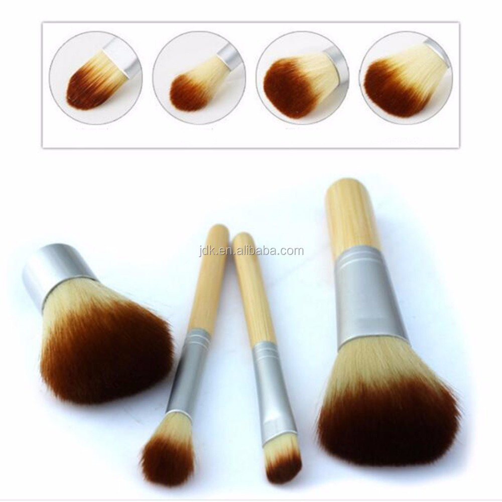 2017 New Alibaba Hot Bamboo 4 pcs Make Up Brushes Kit Face Care Cosmetic Brush Set