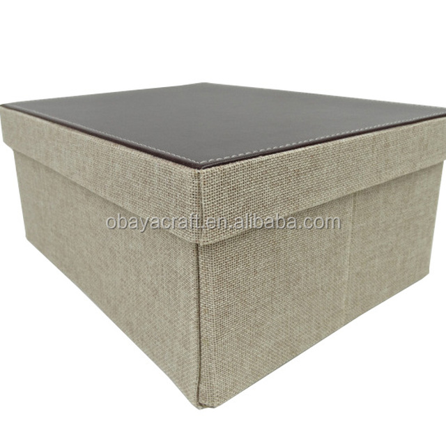 Foldable PU Leather Edge, Linen Storage Box For Home Or Hotel Supplies