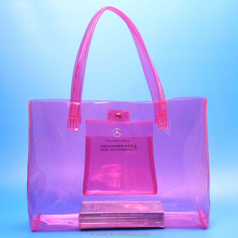Las Clear Plastic Pvc Large Vinyl Handbags Shoulder Tote Bags