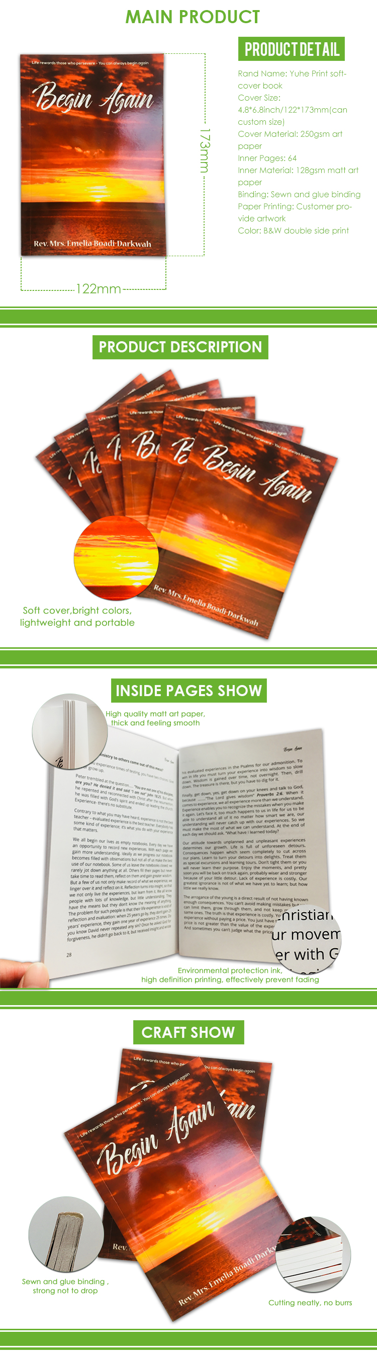 Free sample ECO friendly paperback books on sale with perfect bound