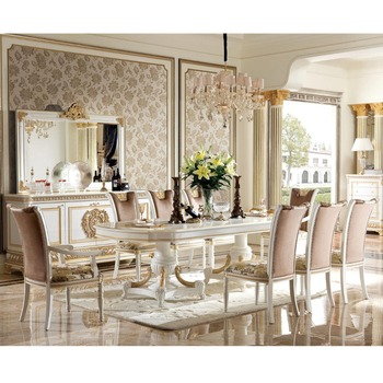 YB62 1Italy Neoclassical 10chairs Dining Table Set Glossy White Finish Long Noble Design View Baroque Sets