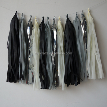 Black Grey Silver And Cream Handmad Tissue Paper Tassels Perfect Party Decoration For Bedrooms
