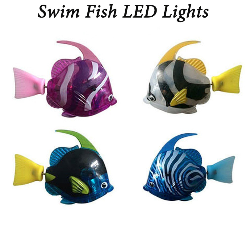 Transparent LED Lights Battery Powered Swimming Robotic Fish 4PCS Assorted
