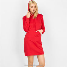 European Style Autumn Long Sleeve Red Casual Slimming Dress With Hood