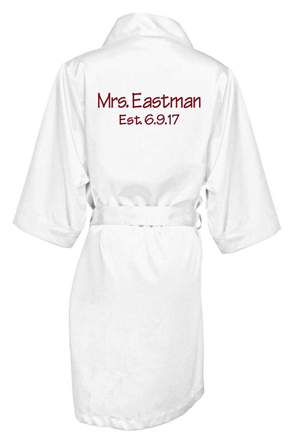 474509cf3d Get Quotations · Zynotti Women s Personalized Embroidered Mrs. with  Established Date Satin Bridal Robe - Bride Wedding Party