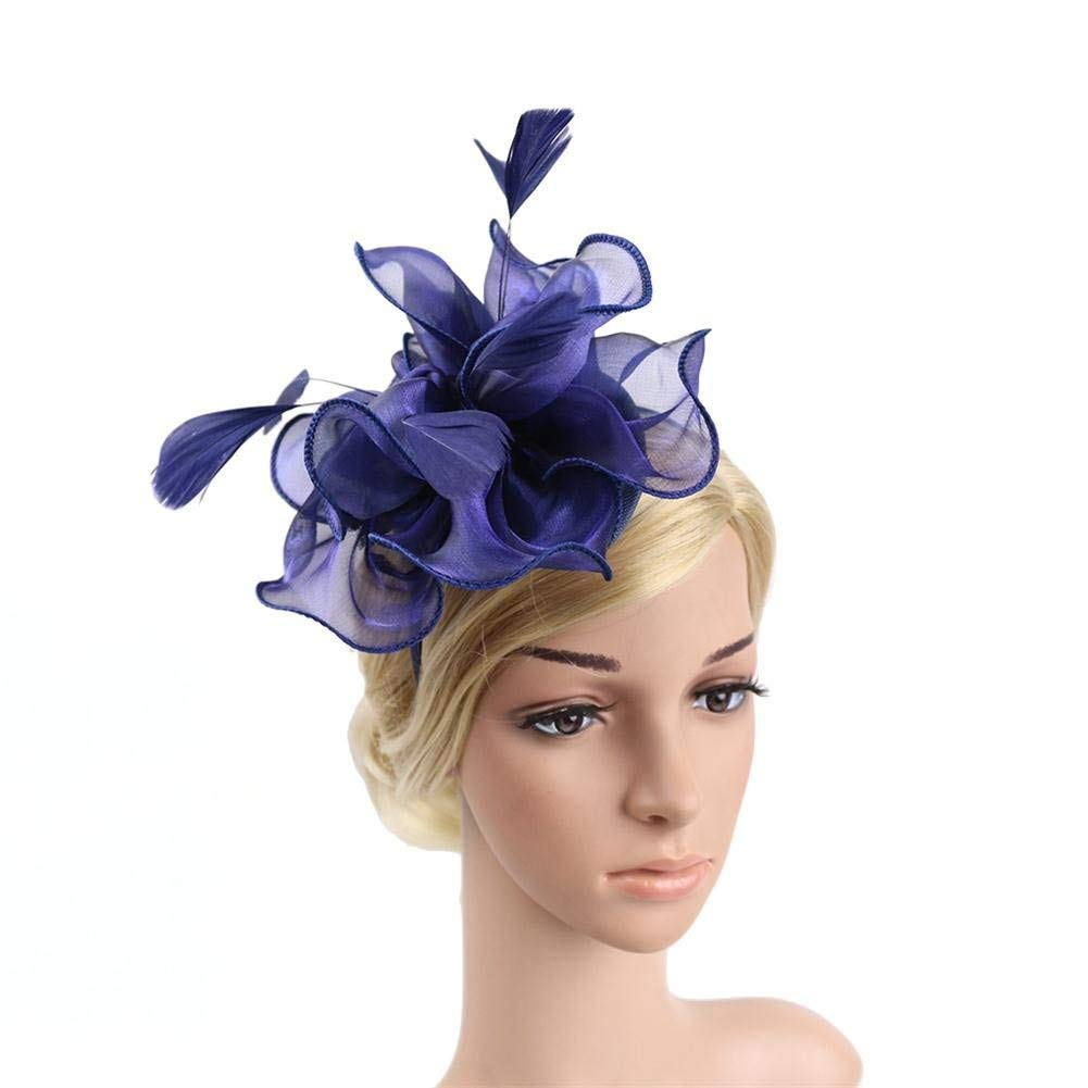 Get Quotations · MOWANG Wedding Hats for Bridal Fascinators Feathers  Women s Party Hats Hair Accessories Headband (Navy Blue 4543e4828482