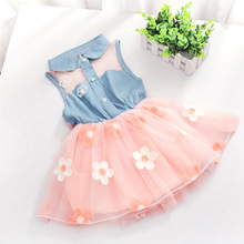 Fashion Baby Kids Girls Denim Dress Sleeveless Shirt Tulle Princess Tutu Dresses Free Shipping