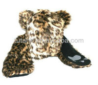 Leopard Faux Fake Animal Fur Trapper Hat with Mitten Glove Pockets and Paw Print