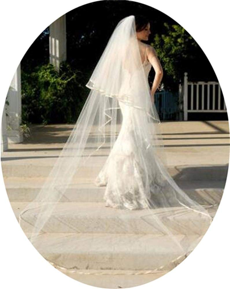 Simlehouse 2 Tiers Tulle Wedding Veils Cathedral Length White/Ivory Long Bride Veil