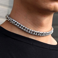 Miss Jewelry 18k White Gold PVD Plated Stainless Steel Cuban Link Chain
