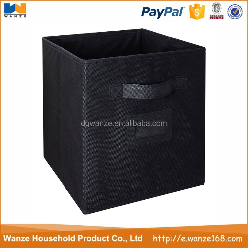 folding small black fabric storage bins cubes for kids