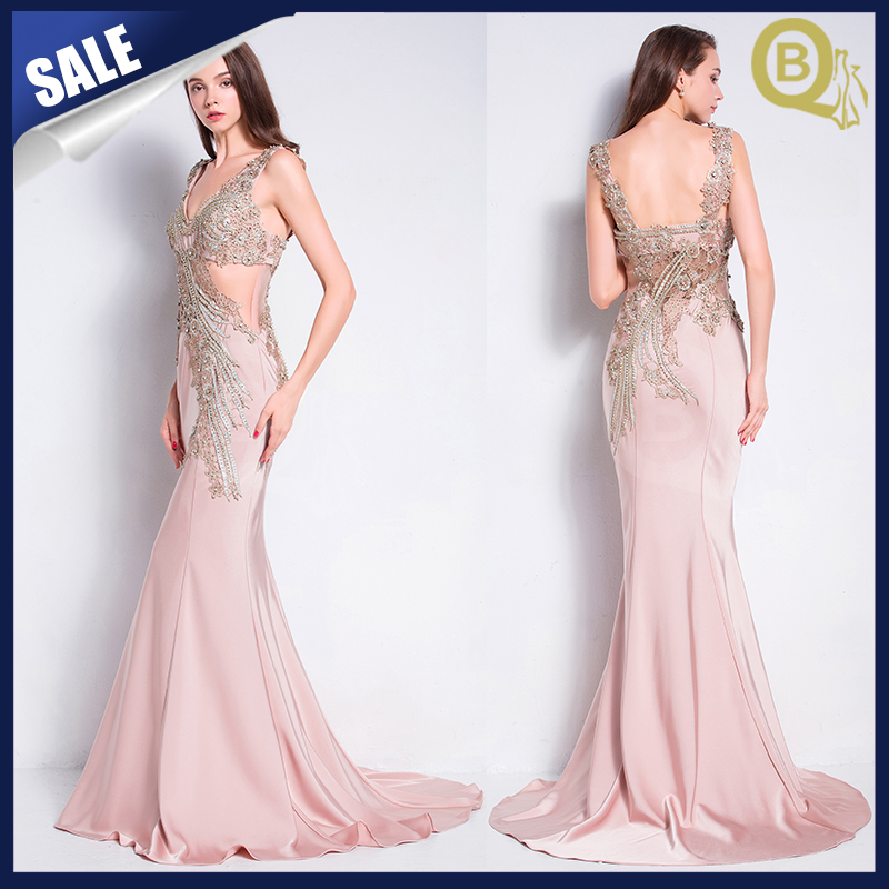 Sexy V-neck back open pink evening dress gowns 2016 with beads & stones