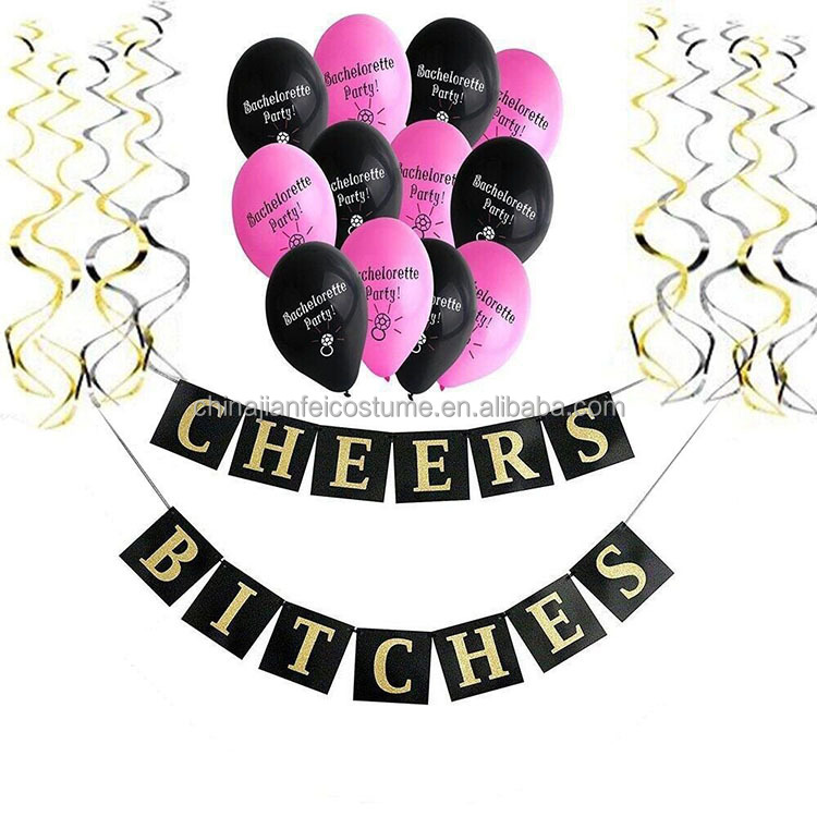 Gold Glitter CHEERS BITCHES Bachelorette Party Decoration Banner