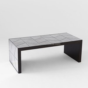 Luxury moroccan style black wood coffee table with dining table combination