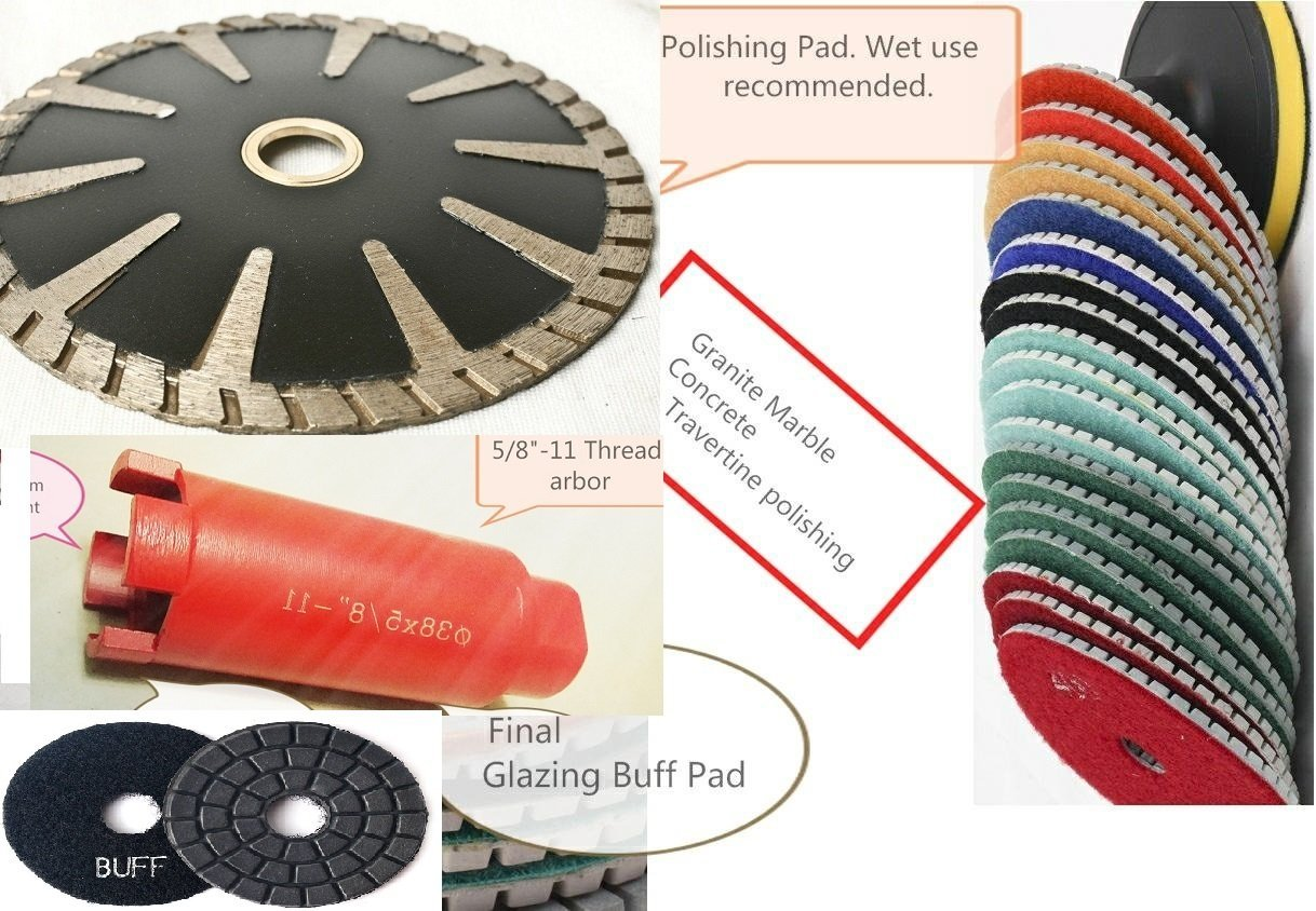 "5"" Diamond Convex Curved Blade polishing pad 9+1 Piece and 1 3/8"" diamond core bit hole saw cutter for natural stone concrete masonry work with tile floor grinder wet polisher sander buffer"