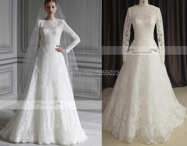 2014 Hot Sale Real A Line Lace Long Sleeve Winter Wedding