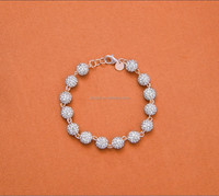 8MM crystal ball sterling beads 925 sterling silver bracelet in stock